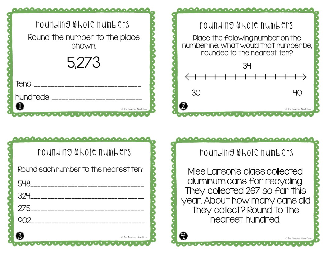 hight resolution of FREE 3rd Grade Rounding Whole Numbers Task Cards – The Teacher Next Door