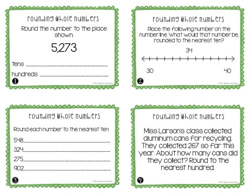 small resolution of FREE 3rd Grade Rounding Whole Numbers Task Cards – The Teacher Next Door