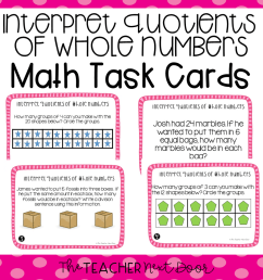 3rd Grade Interpret Quotients of Whole Numbers Task Cards   Division Center  – The Teacher Next Door [ 960 x 960 Pixel ]