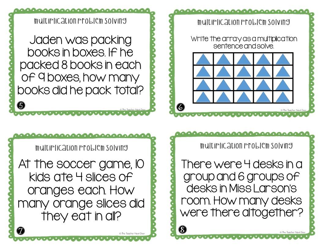 3rd Grade Multiplication Problem Solving Task Cards The