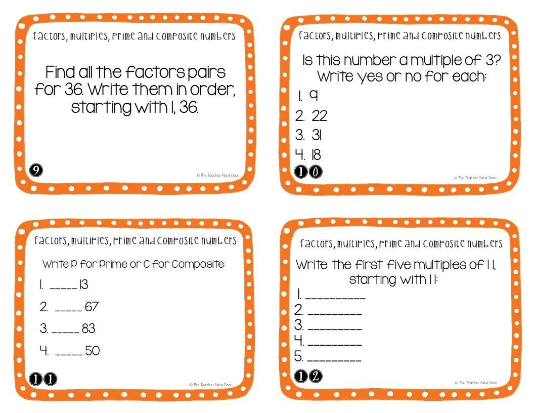 4th Grade Factors Multiples Prime And Composite Task