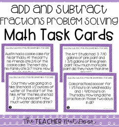 5th Grade Add and Subtract Fractions Problem Solving Task Cards – The  Teacher Next Door [ 960 x 960 Pixel ]