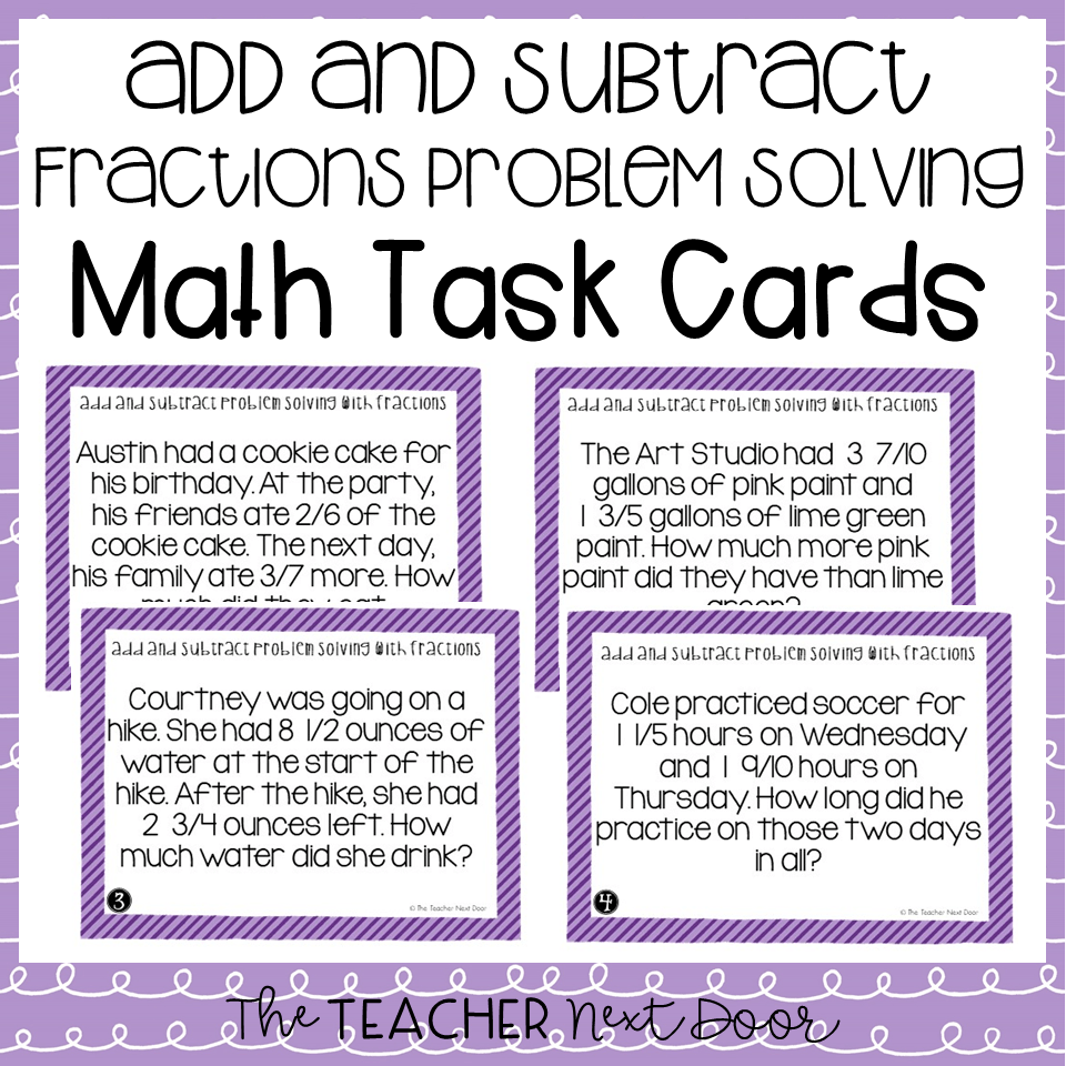 medium resolution of 5th Grade Add and Subtract Fractions Problem Solving Task Cards – The  Teacher Next Door