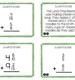 5th Grade Adding Fractions Task Cards   Adding Fractions Center – The  Teacher Next Door [ 816 x 1056 Pixel ]