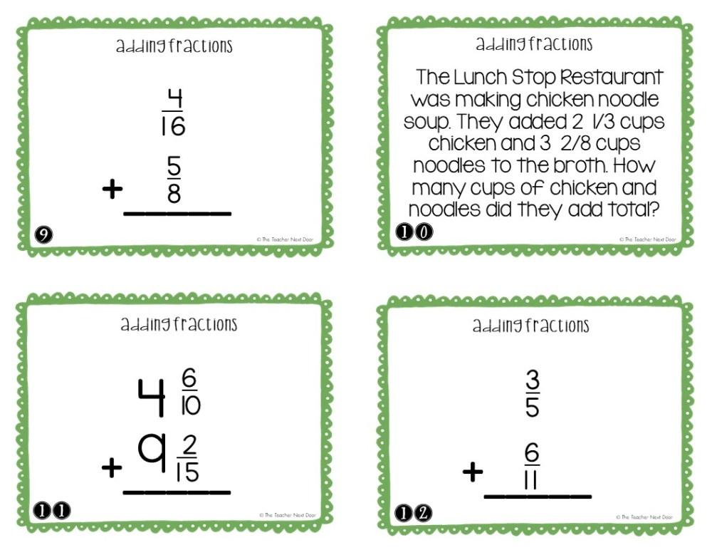medium resolution of 5th Grade Adding Fractions Task Cards   Adding Fractions Center – The  Teacher Next Door