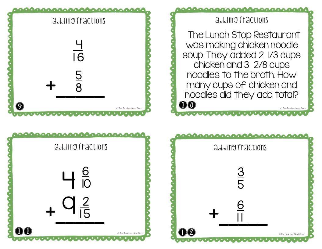 hight resolution of 5th Grade Adding Fractions Task Cards   Adding Fractions Center – The  Teacher Next Door