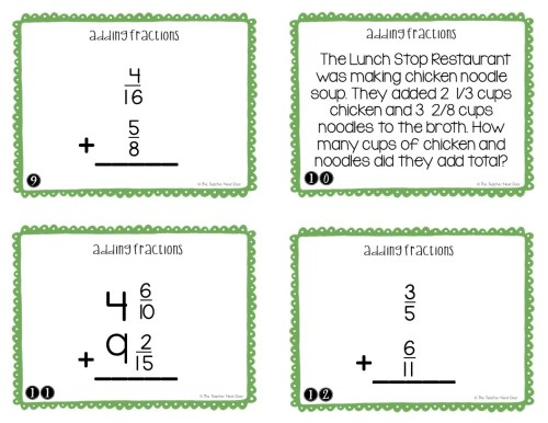 small resolution of 5th Grade Adding Fractions Task Cards   Adding Fractions Center – The  Teacher Next Door