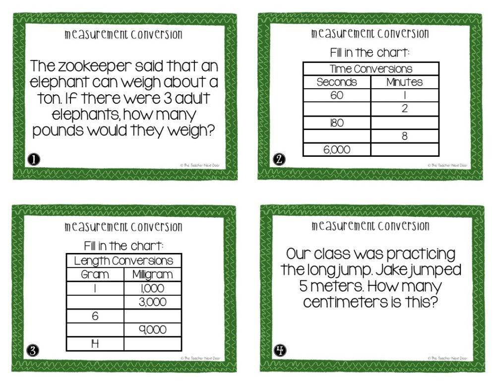 medium resolution of 5th Grade Measurement Conversion Task Cards   Measurement Conversion Center  – The Teacher Next Door