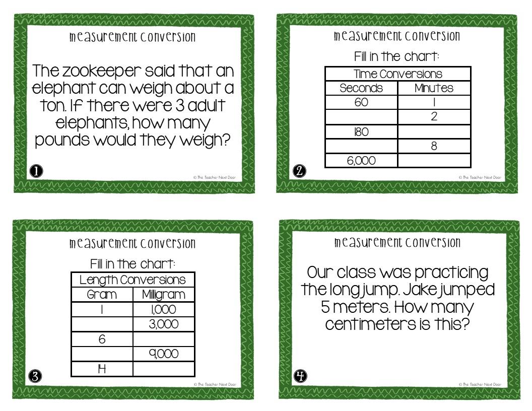 hight resolution of 5th Grade Measurement Conversion Task Cards   Measurement Conversion Center  – The Teacher Next Door