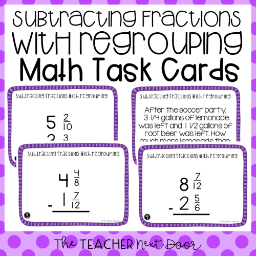 small resolution of 5th Grade Subtract Fractions With Regrouping Task Cards - The Teacher Next  Door