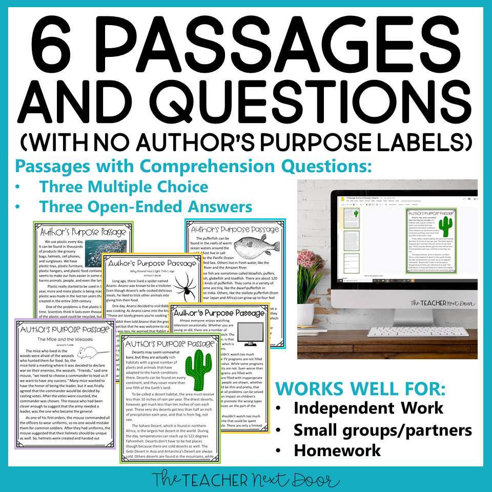 medium resolution of Author's Purpose Print and Digital for 3rd Grade – The Teacher Next Door