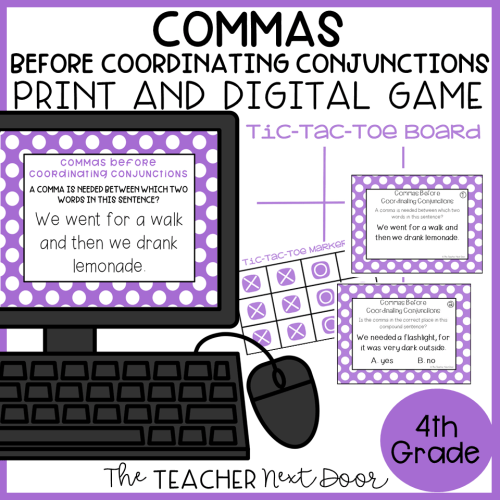 small resolution of Commas Before Coordinating Conjunctions Game Print and Digital – The  Teacher Next Door