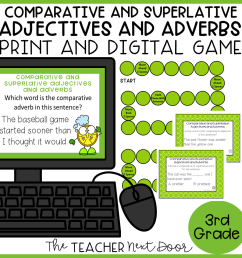 Comparative and Superlative Adjectives and Adverbs Game Print and Digital –  The Teacher Next Door [ 960 x 960 Pixel ]