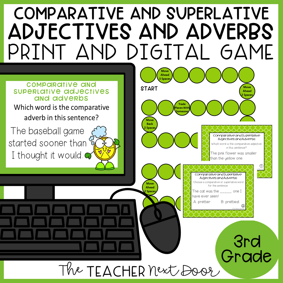 hight resolution of Comparative and Superlative Adjectives and Adverbs Game Print and Digital –  The Teacher Next Door