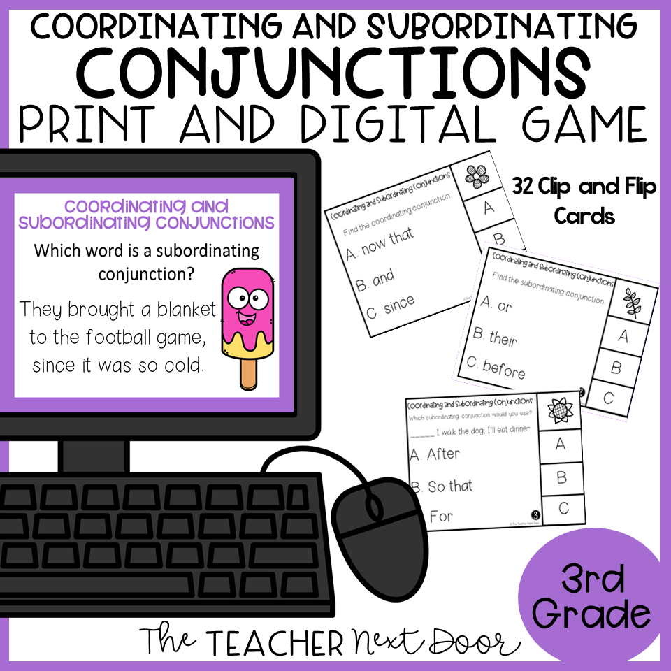 medium resolution of Coordinating and Subordinating Conjunctions Game Print and Digital – The  Teacher Next Door