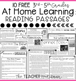 FREE At Home Reading Passages for 3rd – 5th Grade – The Teacher Next Door [ 960 x 960 Pixel ]