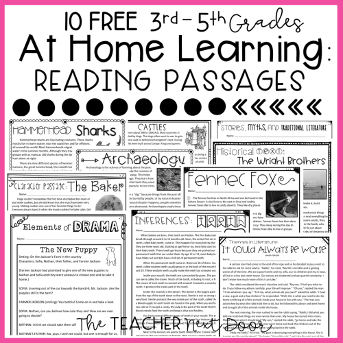 small resolution of FREE At Home Reading Passages for 3rd – 5th Grade – The Teacher Next Door