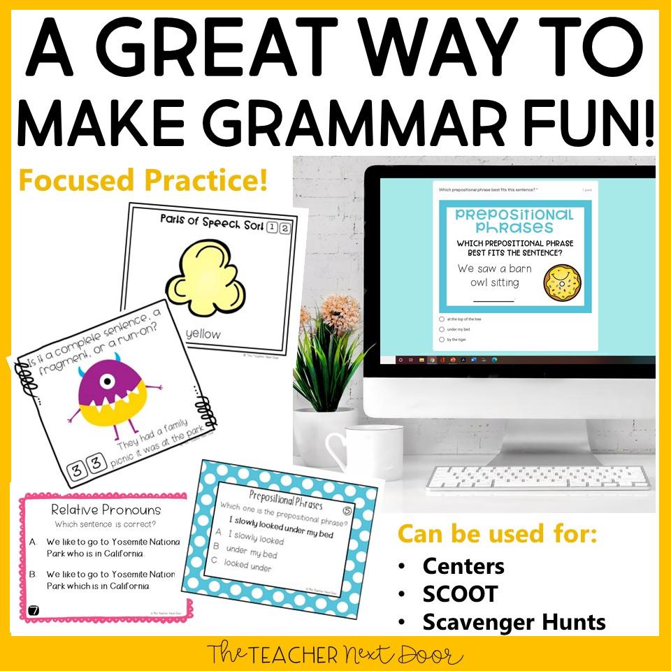 hight resolution of 4th Grade Grammar Games Bundle Set 1 Print and Digital – The Teacher Next  Door