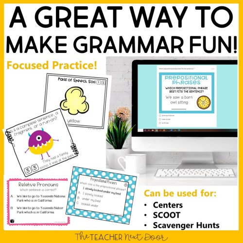 small resolution of 4th Grade Grammar Games Bundle Set 1 Print and Digital – The Teacher Next  Door