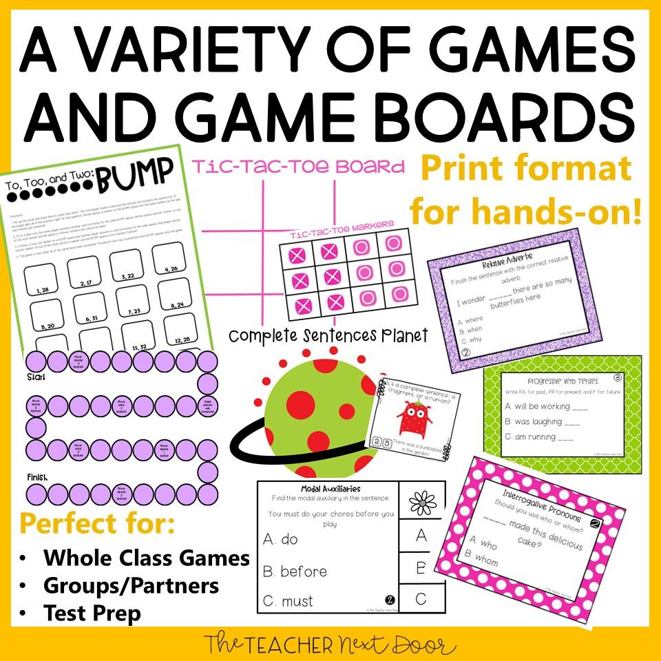 medium resolution of 4th Grade Grammar Games Bundle Set 1 Print and Digital – The Teacher Next  Door