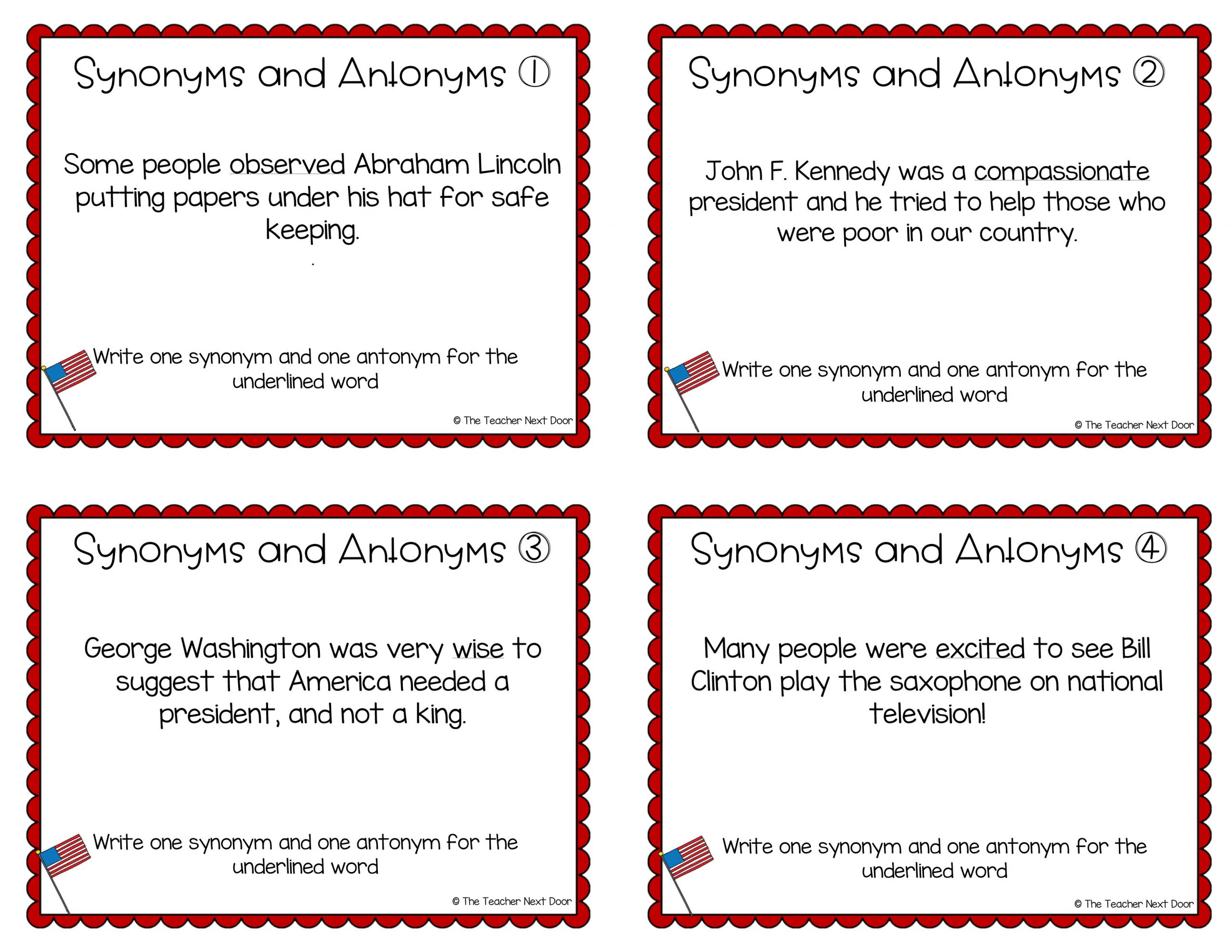 President S Day Task Cards Synonyms Antonyms