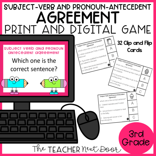 small resolution of Subject – Verb and Pronoun – Antecedent Clip and Flip Game Print and  Digital – The Teacher Next Door