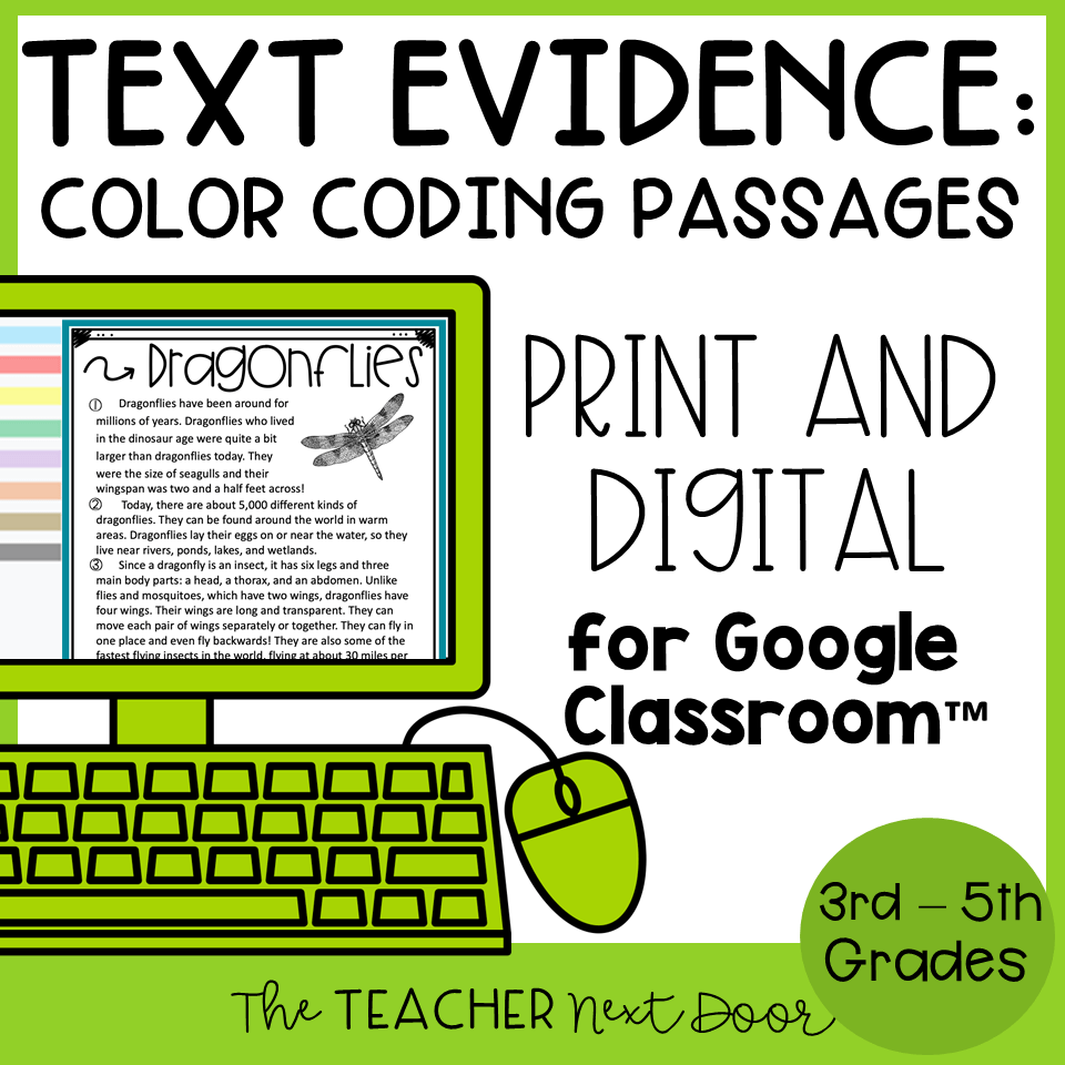 hight resolution of Text Evidence Color Coding Passages Print and Digital – The Teacher Next  Door