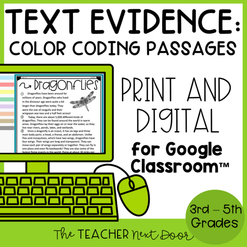 small resolution of Text Evidence Color Coding Passages Print and Digital – The Teacher Next  Door