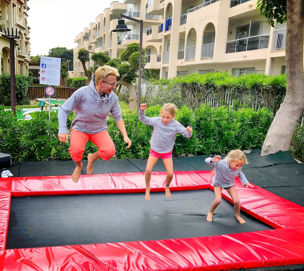 Zafiro Bahia - getting crazy on trampoline,  europe with kids,