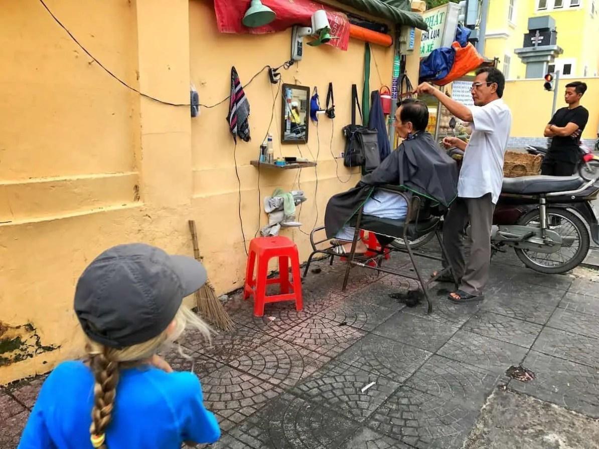 Saigon street barber
