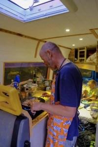 preparing breakfast in a campervan