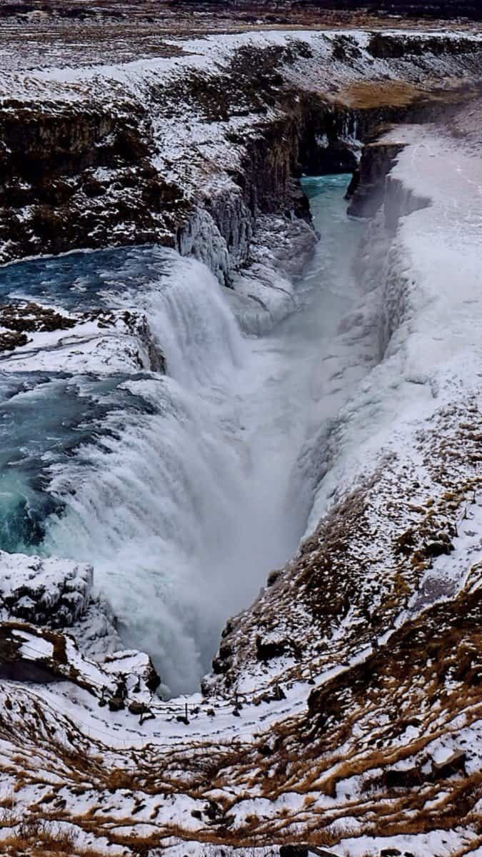 Gullfoss Waterfall in Winter In Iceland
