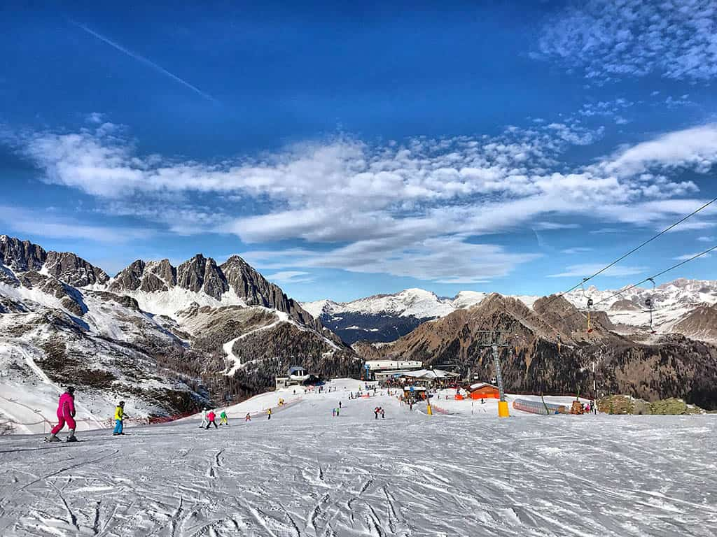 tongola piste during winter in San Martino, family winter holiday in San Martino