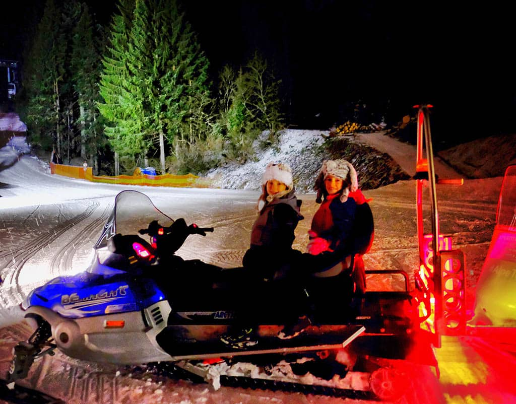 night trip on snowmobile - Tognola, San Martino di Castrozza, winter holiday in San Martino
