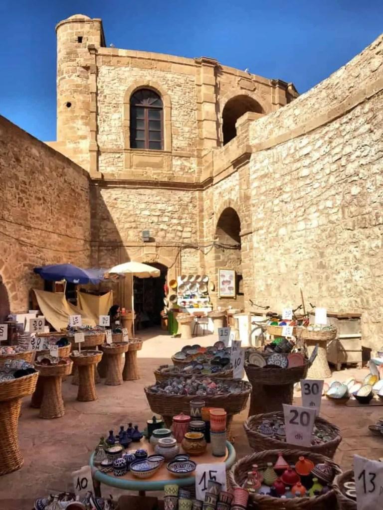 Essaouira popular Souvenir Market under the ramparts