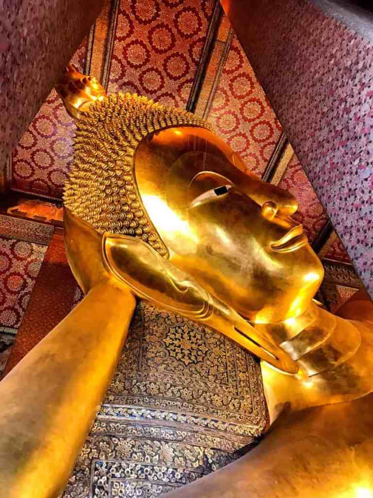 Famous landmarks in Thailand Wat Pho - enormous Buddha - must see temples in Bangkok