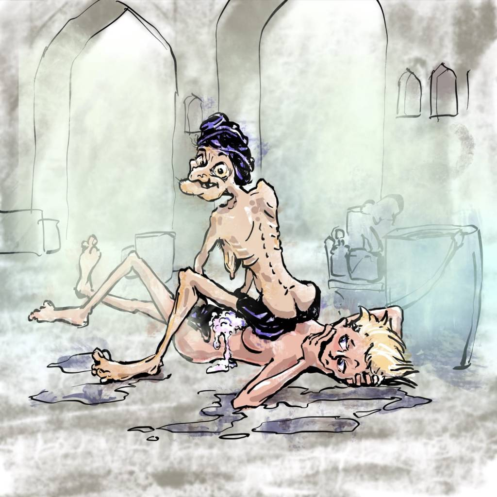 hammam morocco - funny drawing