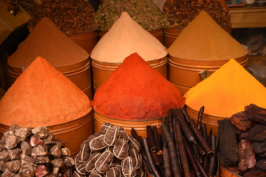 moroccan spices in cones are the staple to use in  moroccan dishes and moroccan cooking, white pepperspices from morocco, ras el hanout, moroccan spice, shopping,search email mix recipe  tagines quality navigation receive article remember sign soups