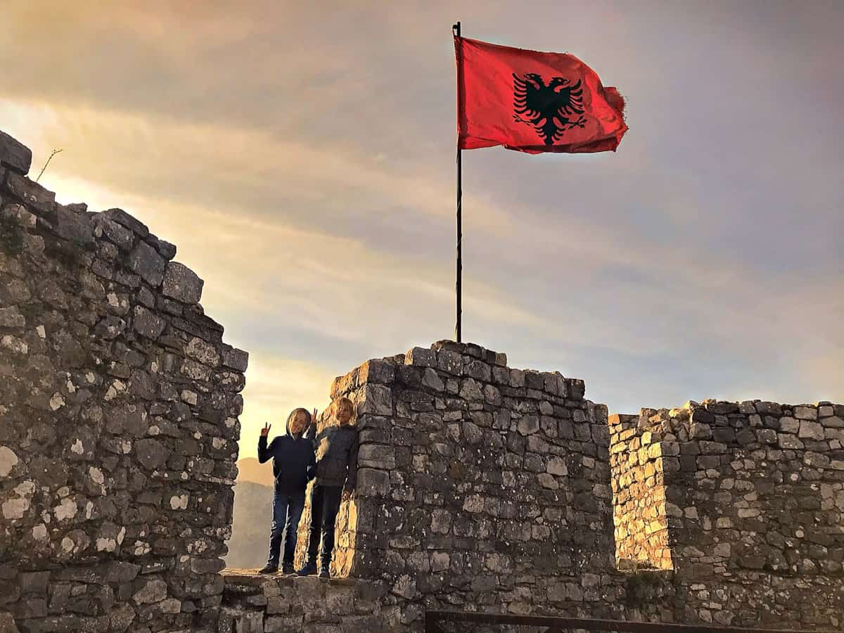 albania flag on a rozafa castle