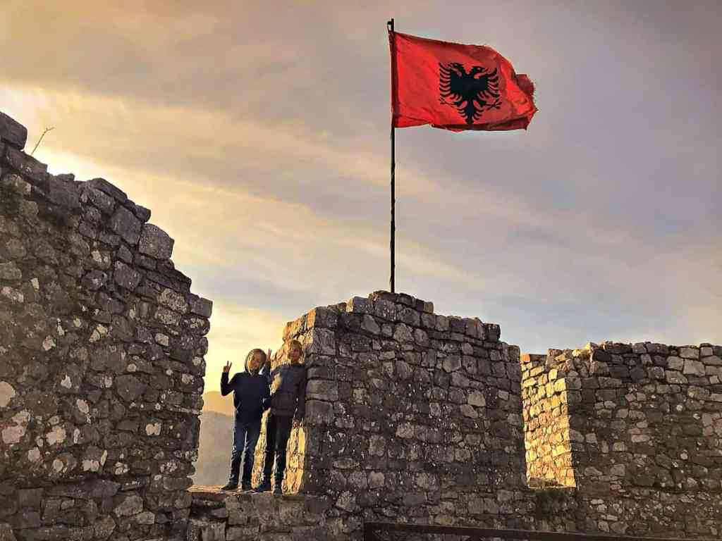 albania flag on a rozafa castle in Shkodra with beautiful views of Shkodra lake