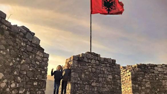 albania flag on a rozafa castle