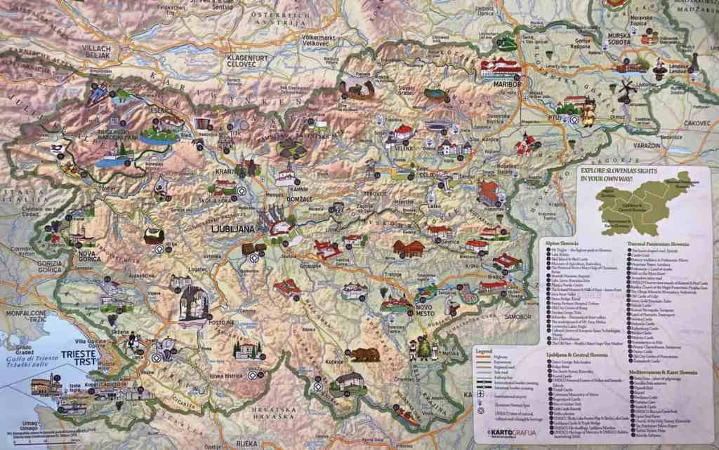 map of best places to visit in slovenia nova gorica, lake bled, bled castle, slovenia castle, piran, ptuj, predjama castle best way to visit slovenia is to rent a vehicle and drive around