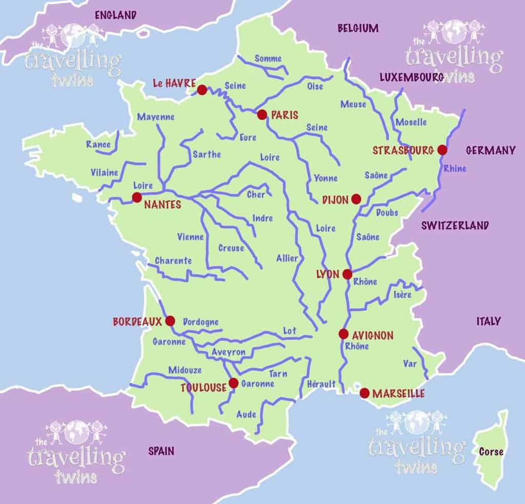 map of french rivers longest rivers in France