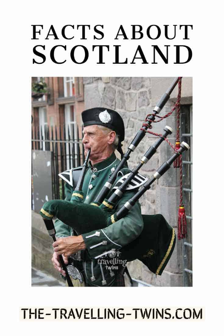 man playing bagpipes - facts about Scotland