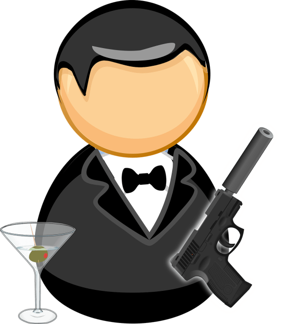 Cartoon image of James Bond with a vodka martini and a gun in his hand.
