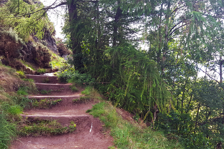 The steps to the chapel