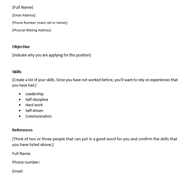 First Time Resume Template from i0.wp.com