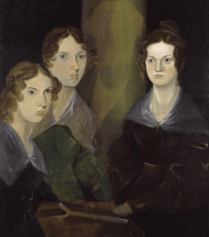 Painting of Anne, Emily, and Charlotte Brontë, by their brother Branwell (c. 1834).