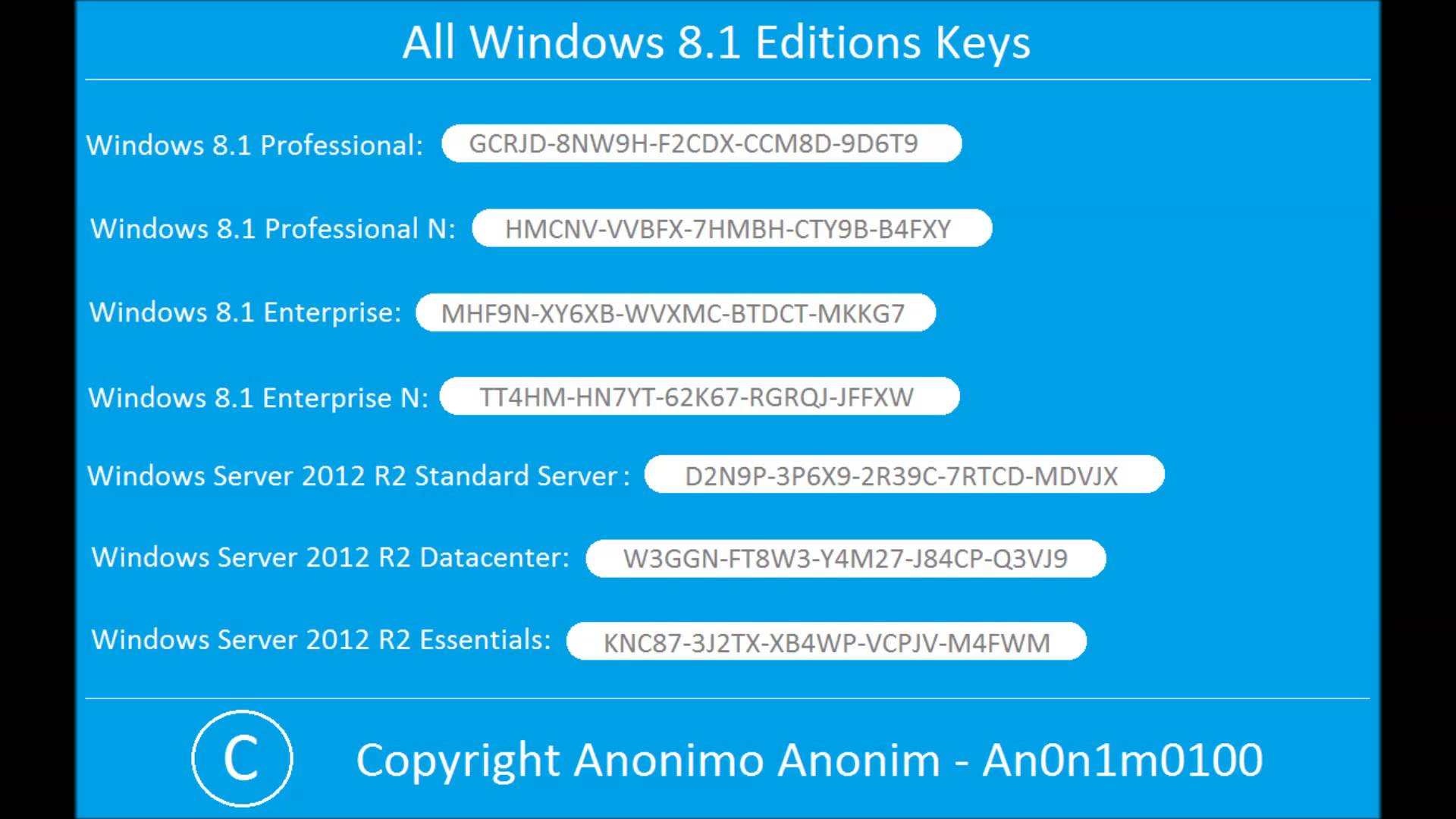 windows 8.1 product key  2018