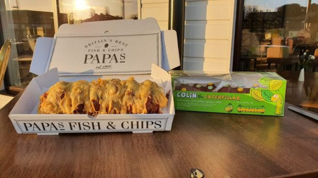 Papa's Fish and Chips battered Colin the Caterpillar